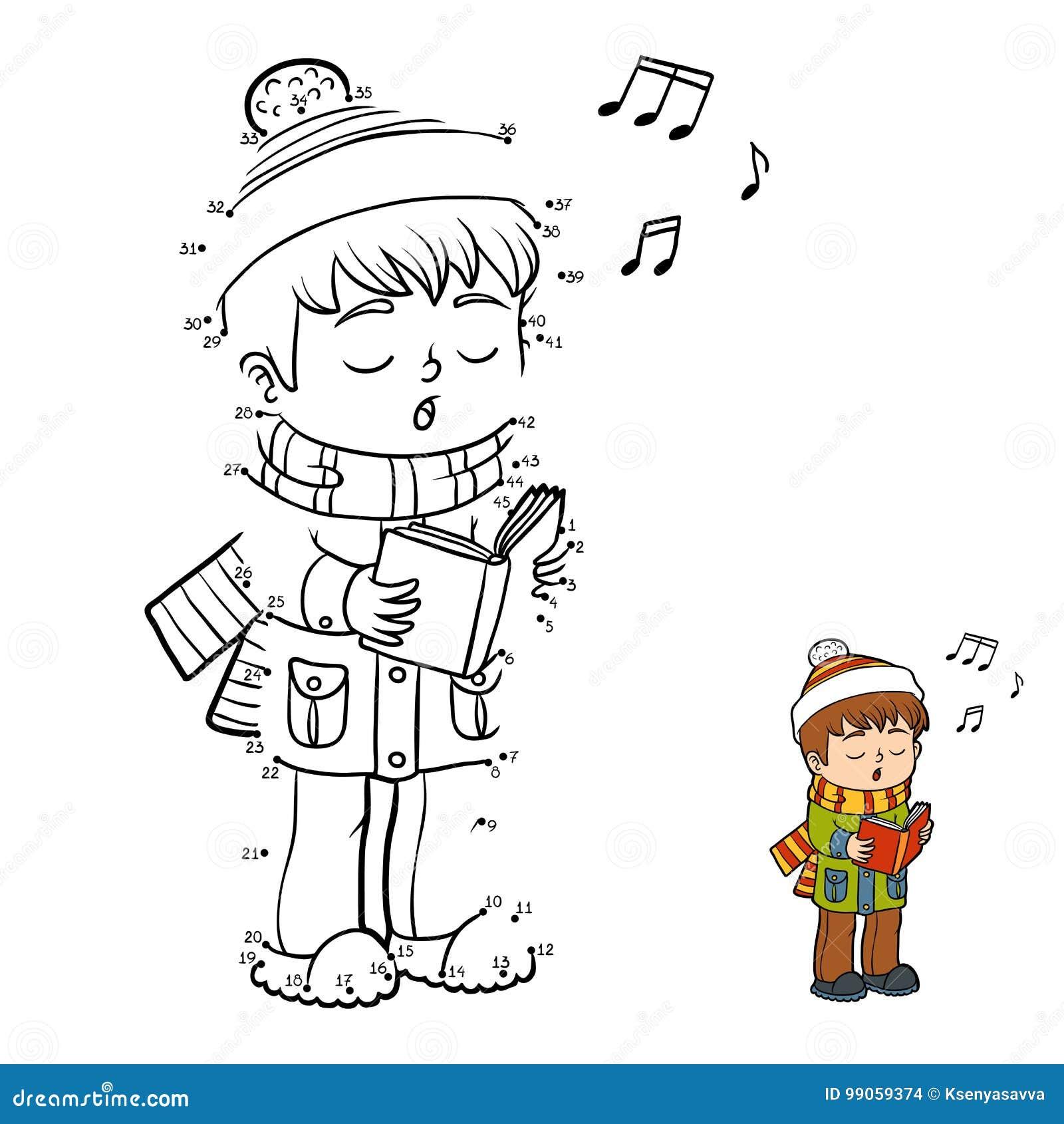 Zahlenspiel, Junge, Der Ein Weihnachtslied Singt Vektor Abbildung ...
