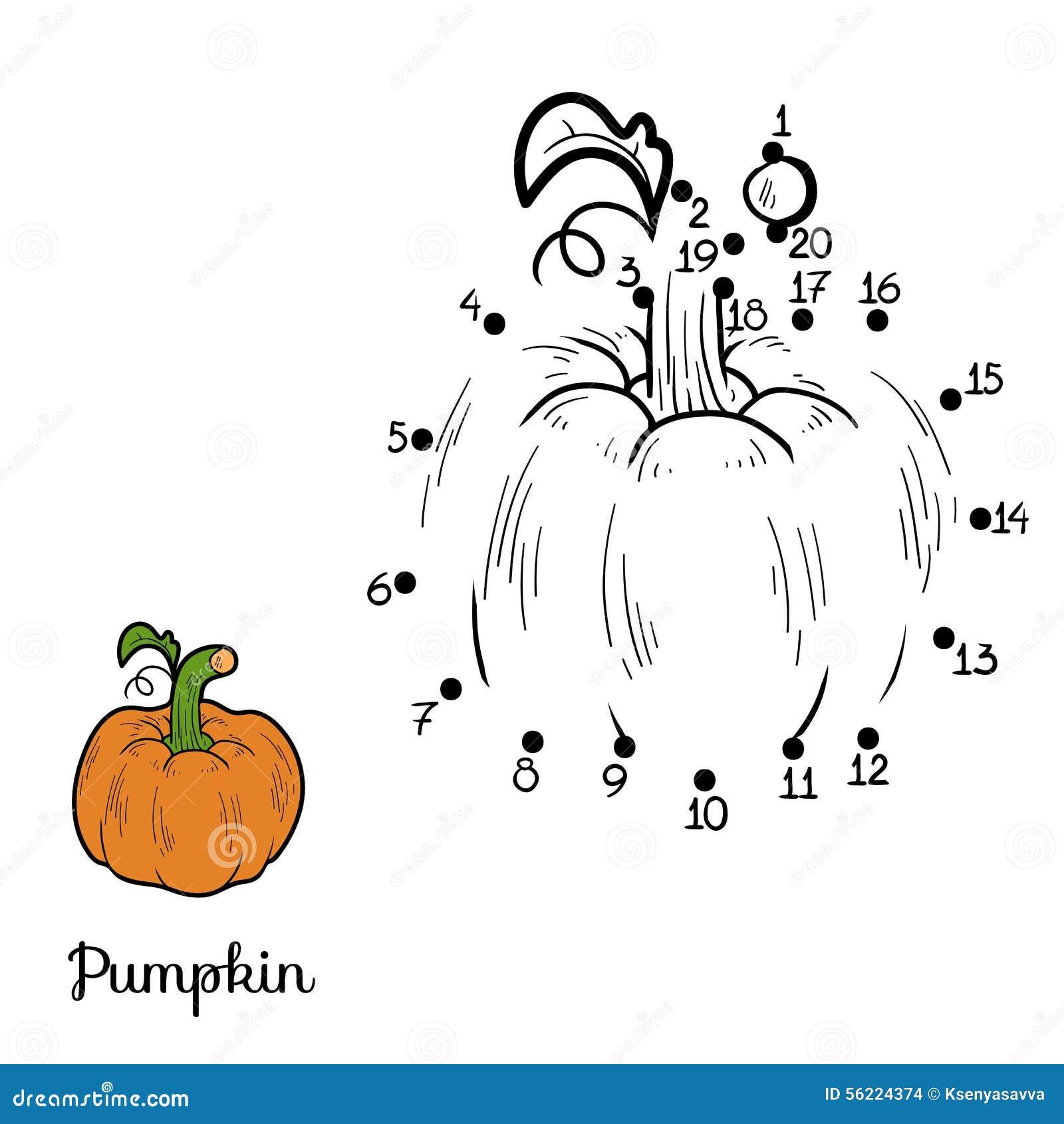 Zahlenspiel: Obst Und Gemüse (Kürbis) Vektor Abbildung ...