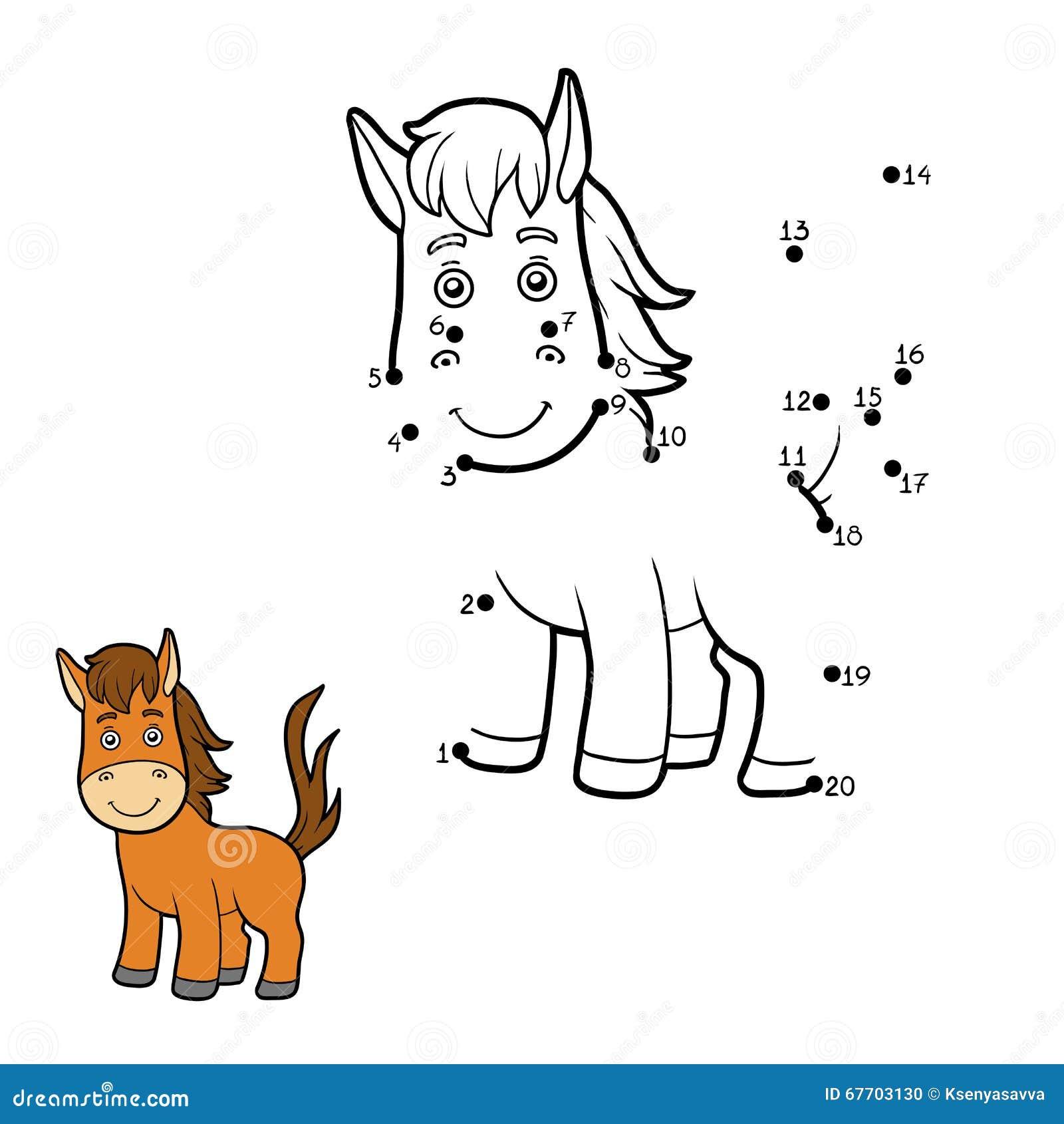 Zahlenspiel, Punkt Zu Punktieren (Pferd) Vektor Abbildung ...