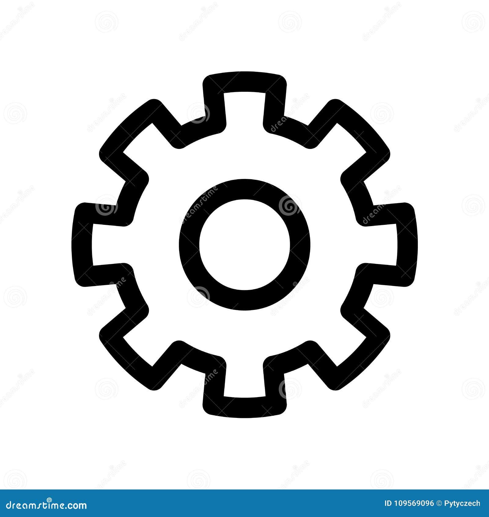 Zahn-Rad-Ikone Symbol von Einstellungen oder von Gang Modernes Gestaltungselement des Entwurfs Einfaches schwarzes flaches Vektor