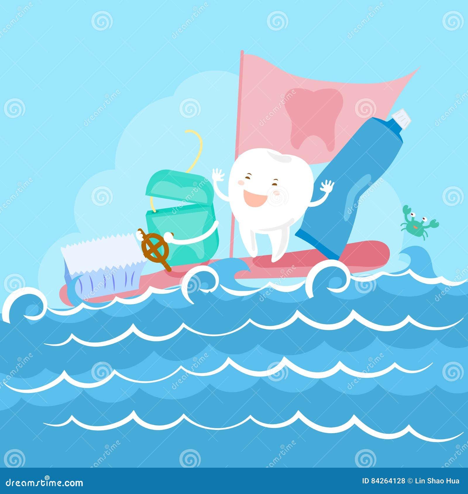 Zahn Und Glasschlacke Auf Meer Vektor Abbildung - Illustration von ...