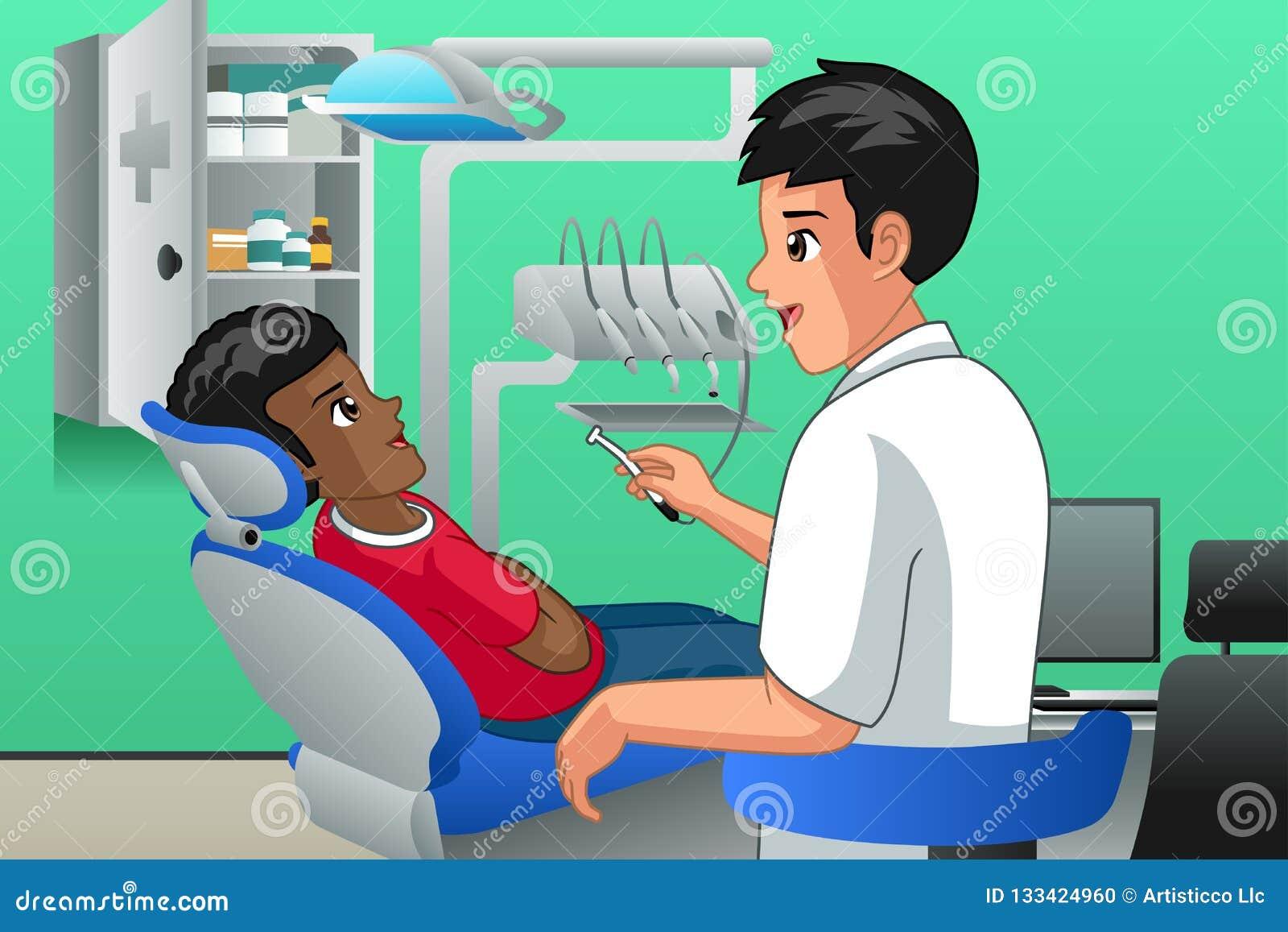 zahnarzt checking auf einer kindergeduldigen illustration
