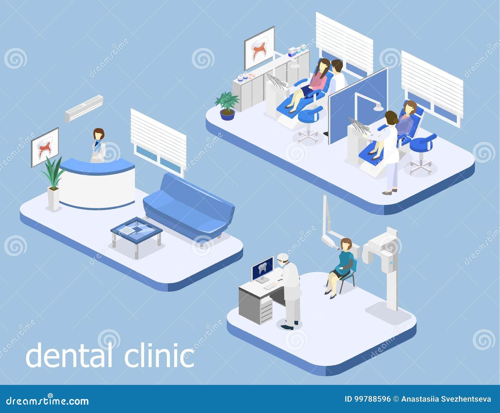 Zahnmedizinische Klinik flach Innen von Zahnarzt ` s Büro