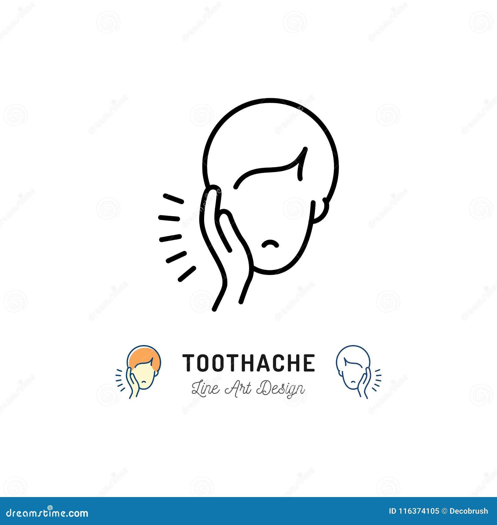 Zahnschmerzenikone, zahnmedizinisches Schmerzzeichen Mann mit den Zahnschmerzenkieferschmerz, zahnmedizinische Krankheiten Auch i