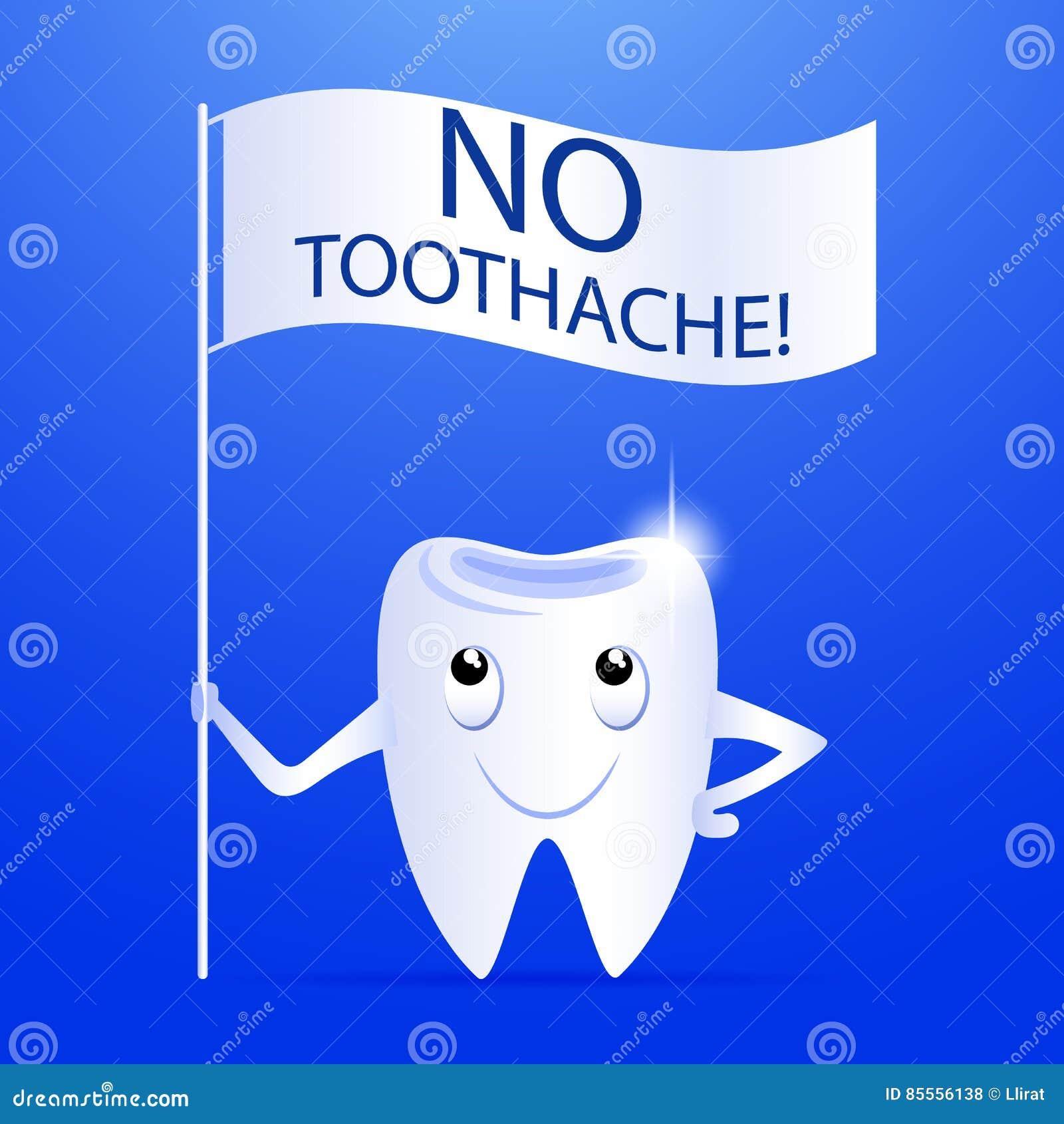 Zahnzeichentrickfilm-figur mit einem Slogan