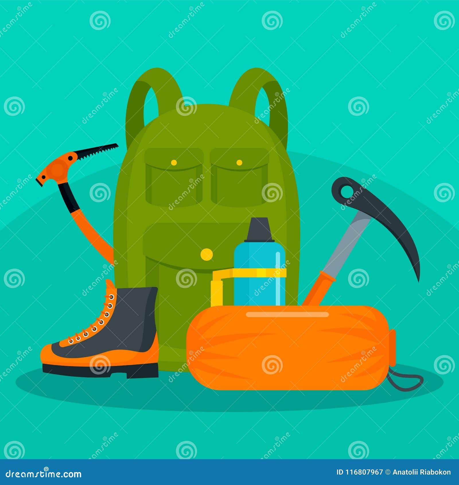Zaino della viandante con il fondo delle scarpe e degli strumenti, stile piano