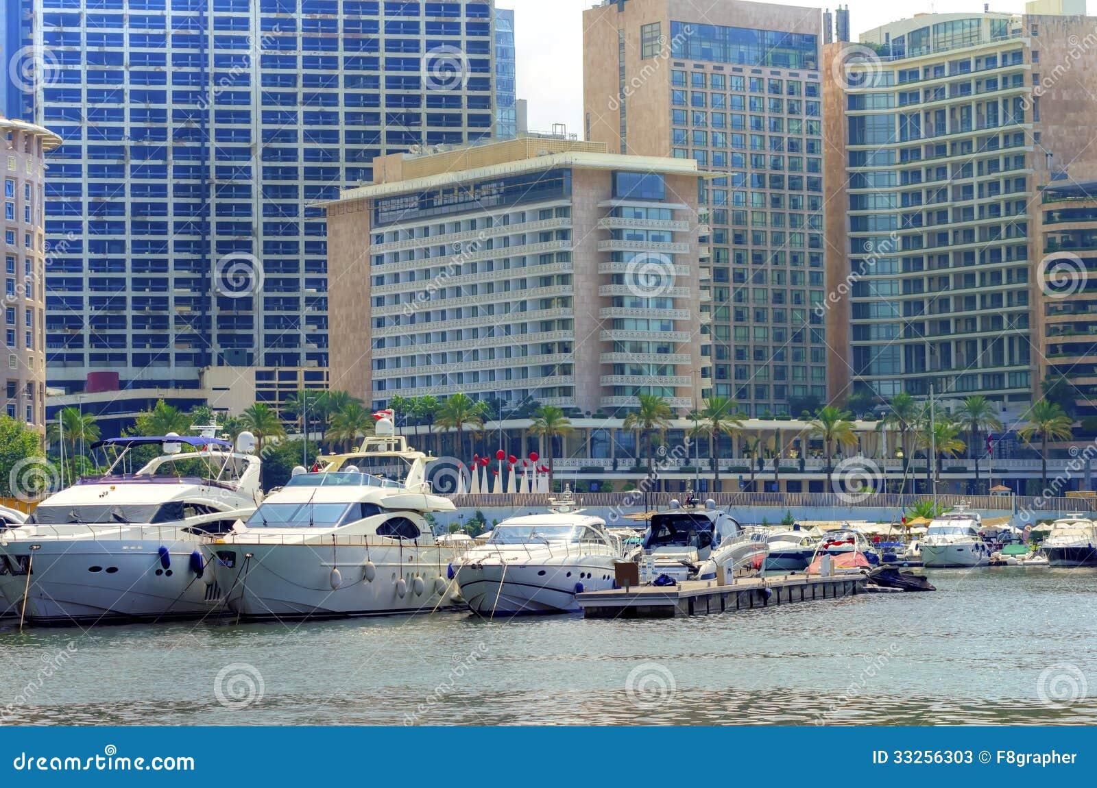 view of the beautiful Marina in Zaitunay Bay in Beirut, Lebanon. A ...