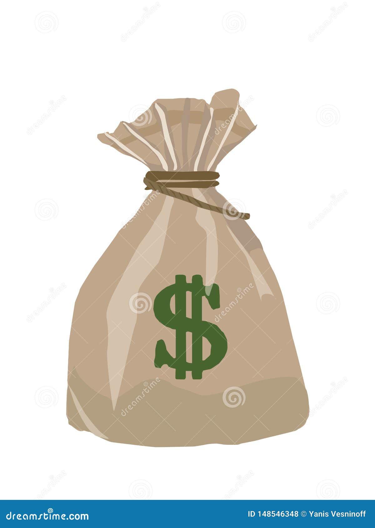 Zak van dollars, vectorbeeld