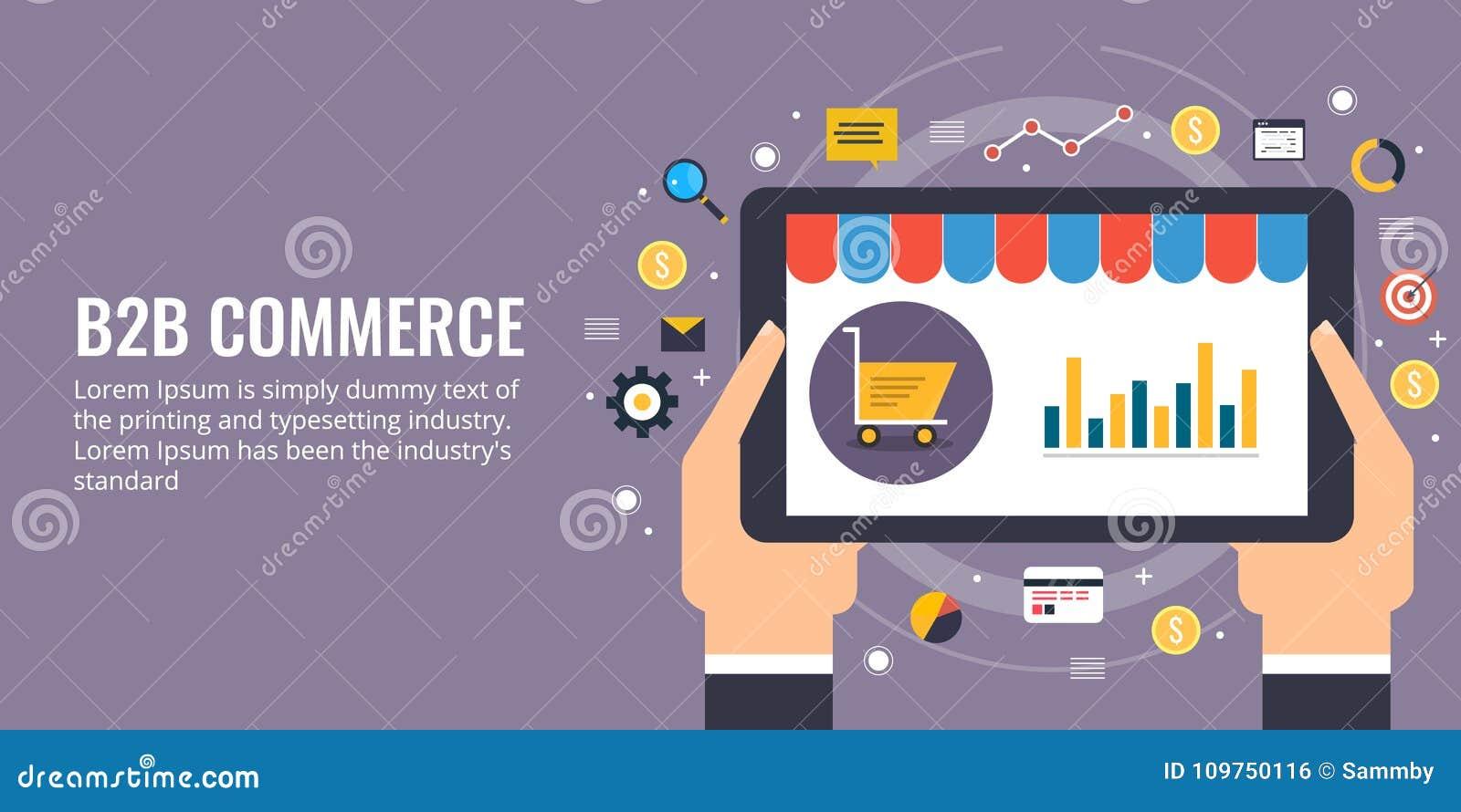 Zaken aan zaken, b2b, elektronische handel, websiteontwikkeling en marketing concept Vlakke ontwerp vector marketing banner