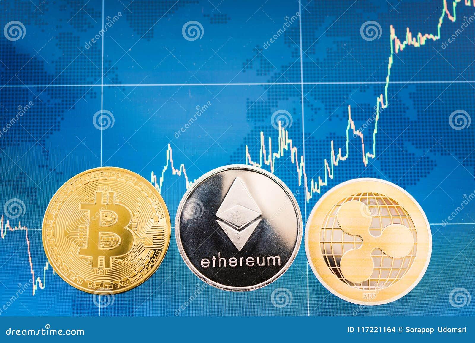 Zaken Bitcoin, rimpeling XRP en Ethereum-de financiën van de muntstukkenmunt