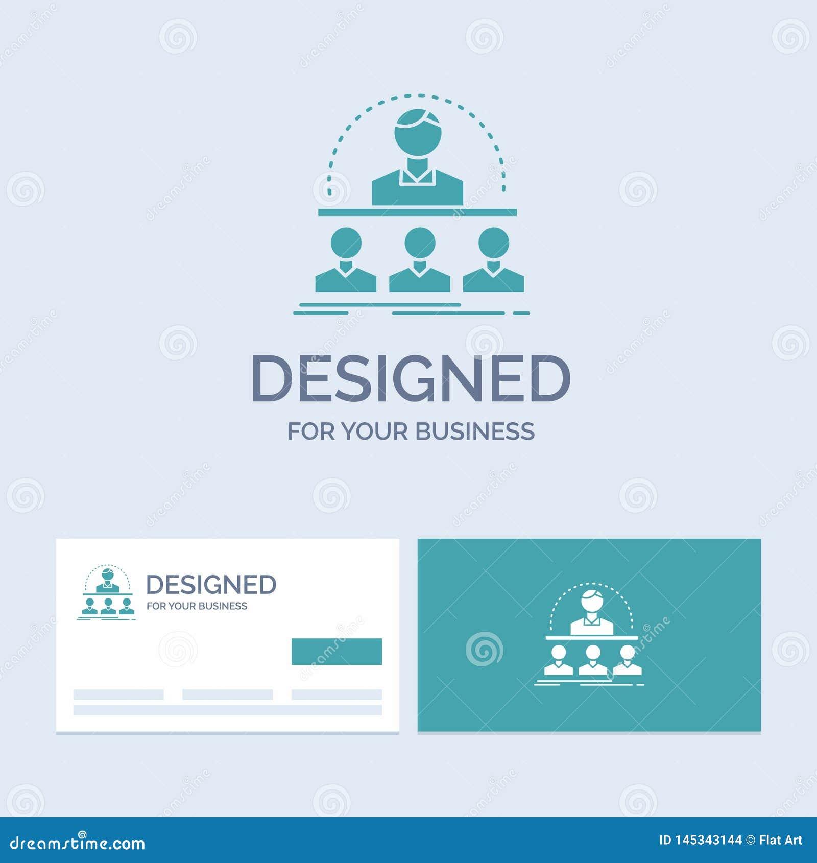 Zaken, bus, cursus, instructeur, mentorzaken Logo Glyph Icon Symbol voor uw zaken Turkooise Visitekaartjes met Merk