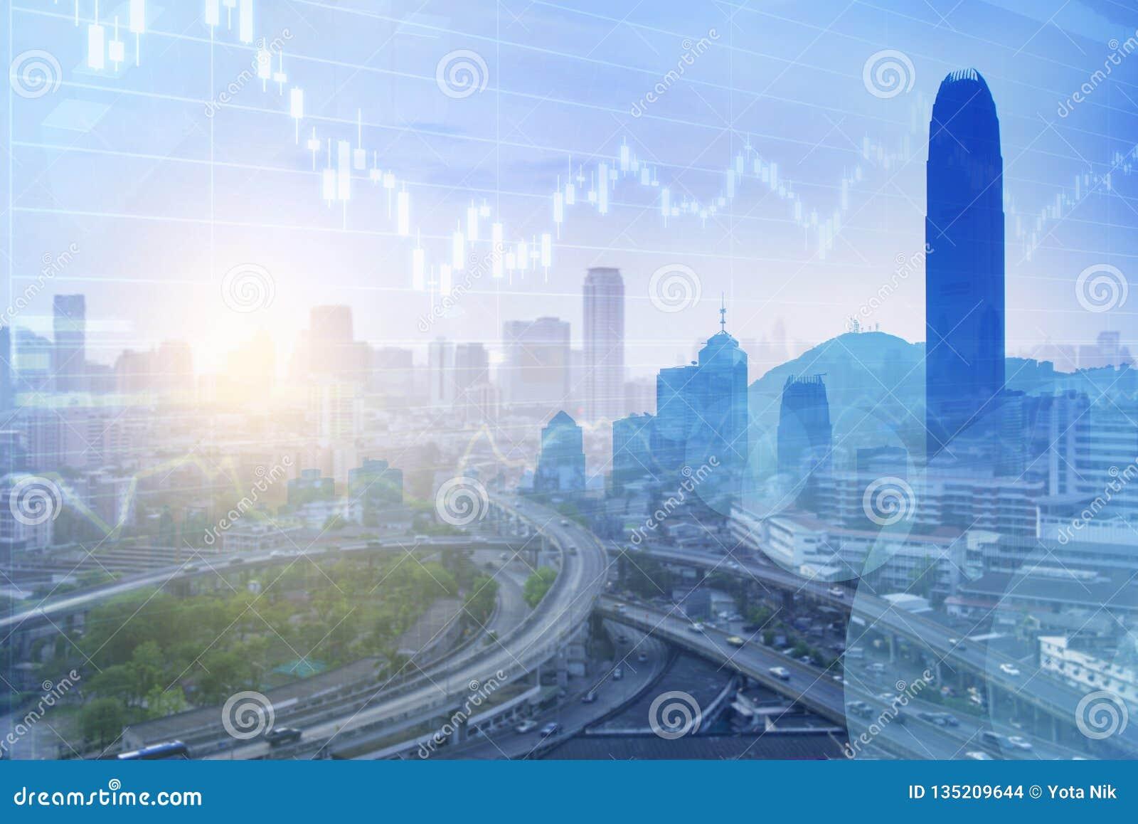 Zaken in de stads veelvoudige blootstelling als achtergrond in blauwe toon