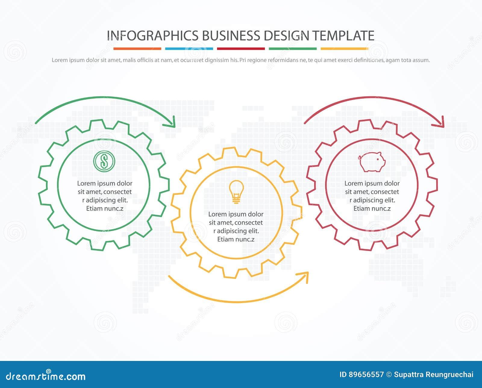 Zaken Infographics Chronologie met 3 stappen, toestellen, tandraderen