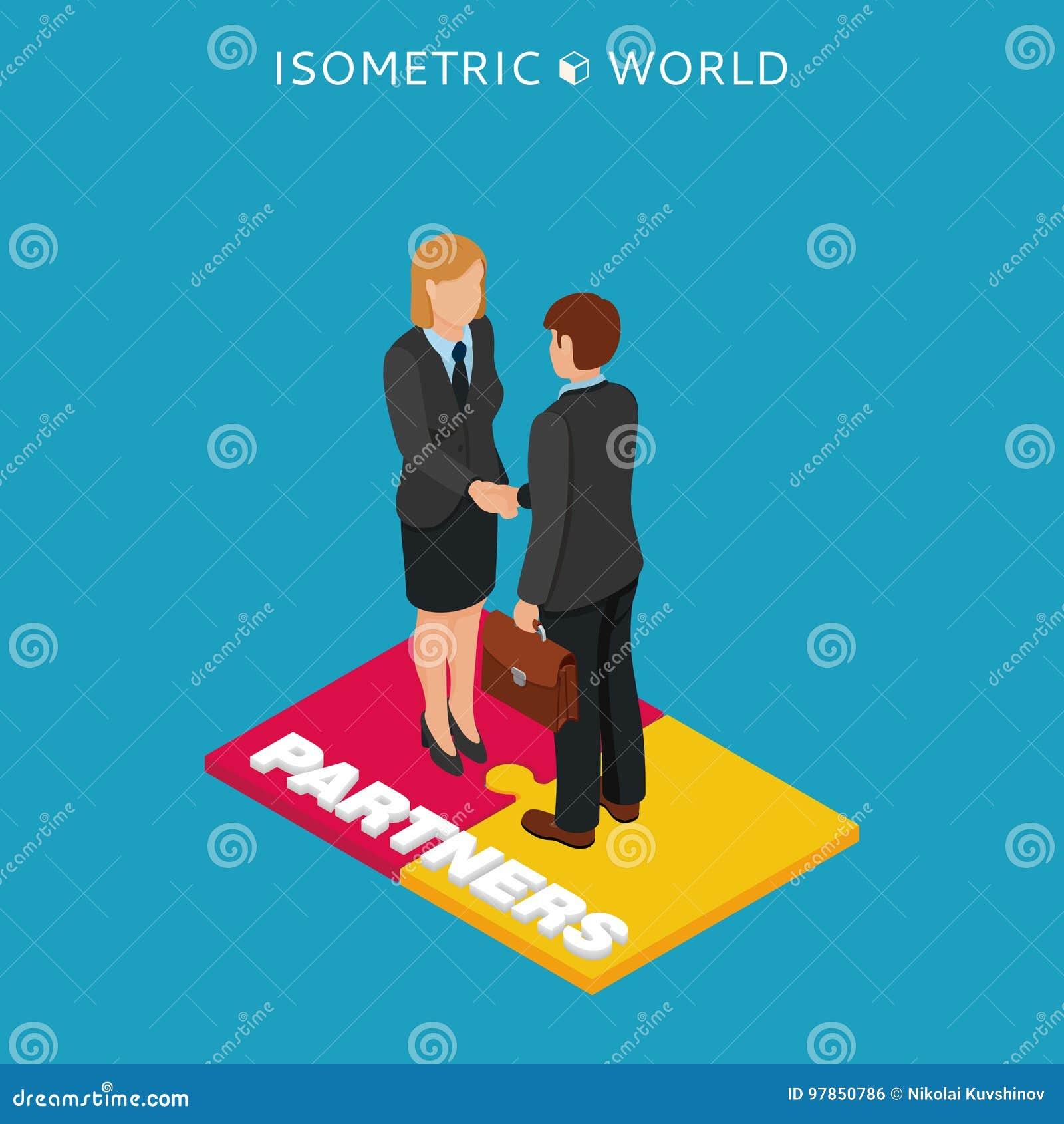 Zakenlieden en vrouwenhanddruk isometrische illustratie, bedrijfsconceptenovereenkomst en samenwerking