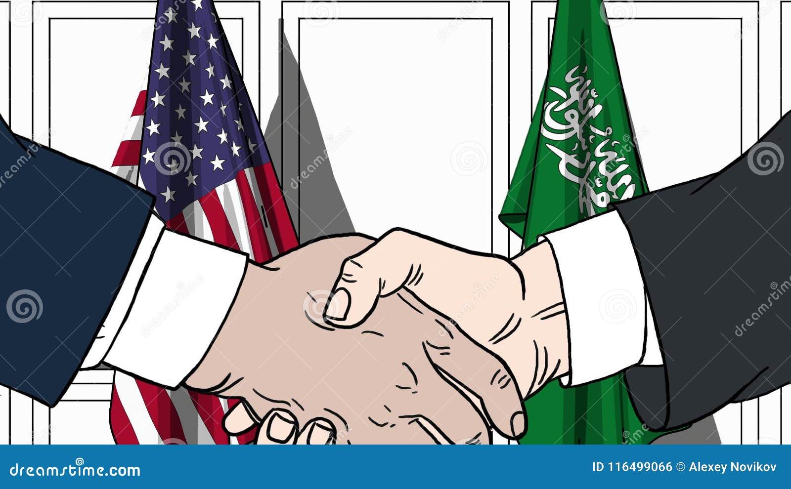 Zakenlieden of politici die handen schudden tegen vlaggen van de V.S. en Saudi-Arabië Vergadering of samenwerking verwant beeldve