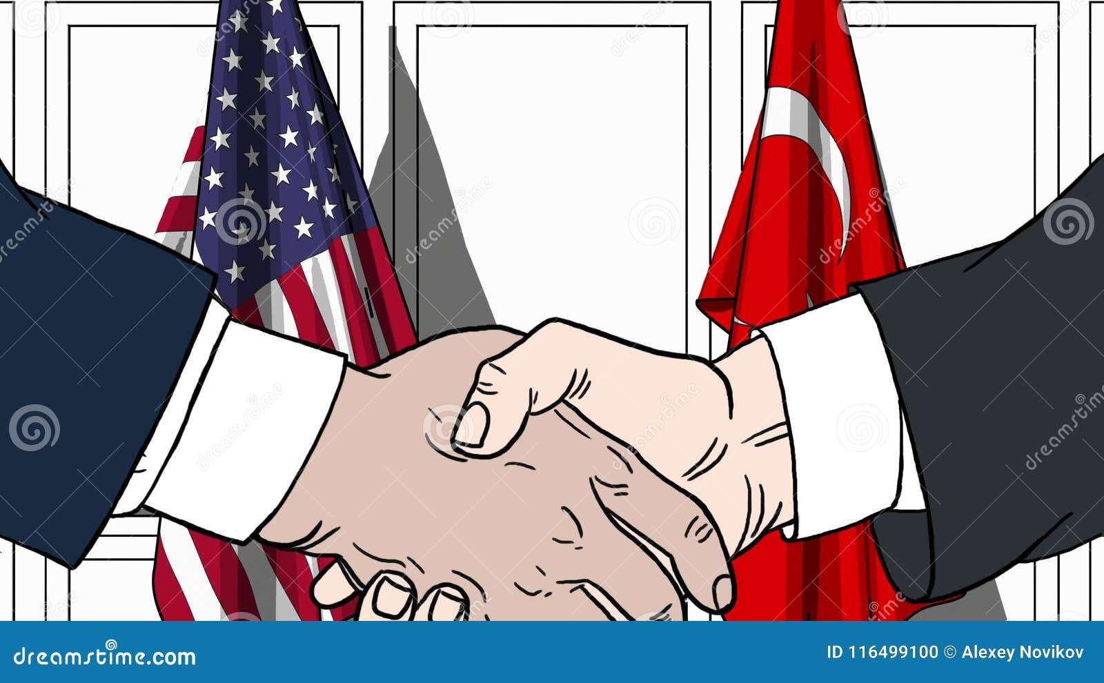 Zakenlieden of politici die handen schudden tegen vlaggen van de V.S. en Turkije Vergadering of samenwerking verwant beeldverhaal