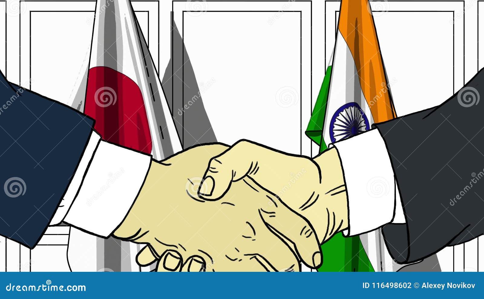 Zakenlieden of politici die handen schudden tegen vlaggen van Japan en India Vergadering of samenwerking verwant beeldverhaal