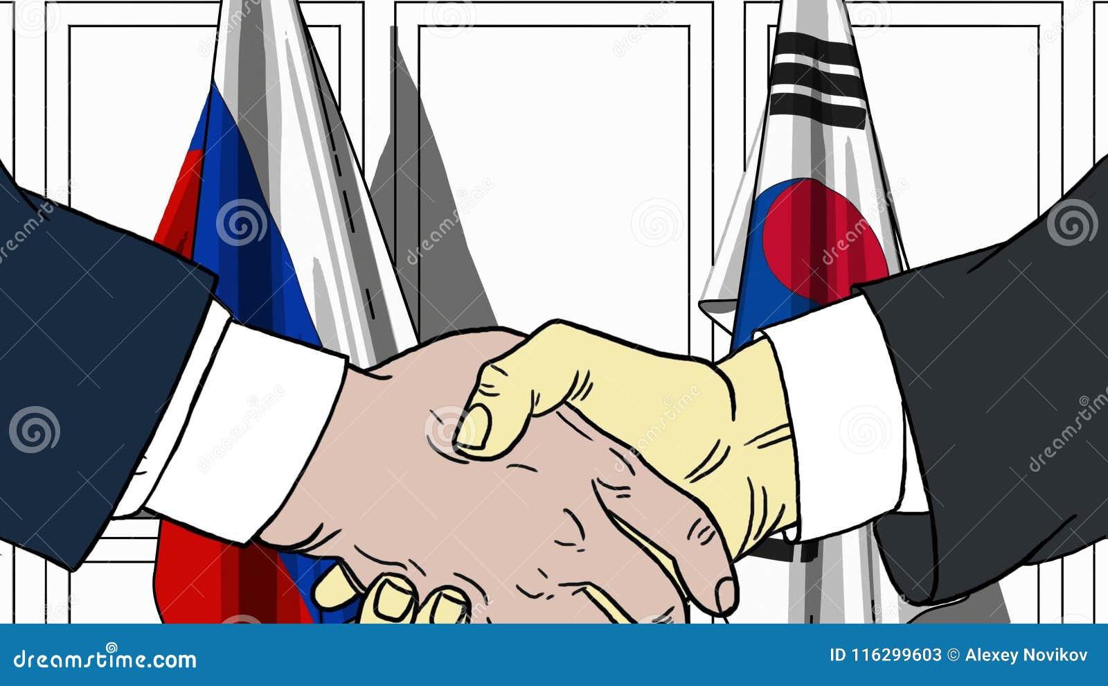 Zakenlieden of politici die handen schudden tegen vlaggen van Rusland en Korea Vergadering of samenwerking verwant beeldverhaal