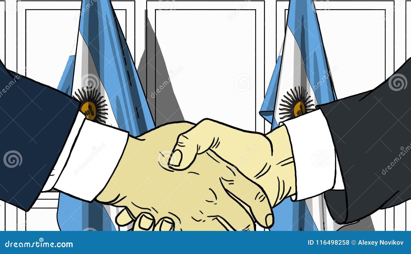 Zakenlieden of politicischokhanden tegen vlaggen van Argentinië Officiële vergadering of samenwerking verwant beeldverhaal