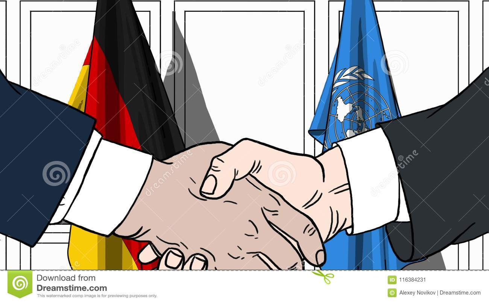 Zakenlieden of politicischokhanden tegen vlaggen van Duitsland en de Verenigde Naties Officiële vergadering of samenwerking