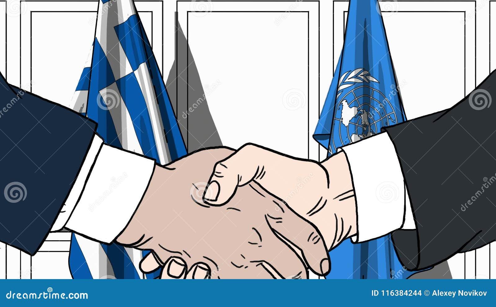 Zakenlieden of politicischokhanden tegen vlaggen van Griekenland en de Verenigde Naties Officiële vergadering of samenwerking
