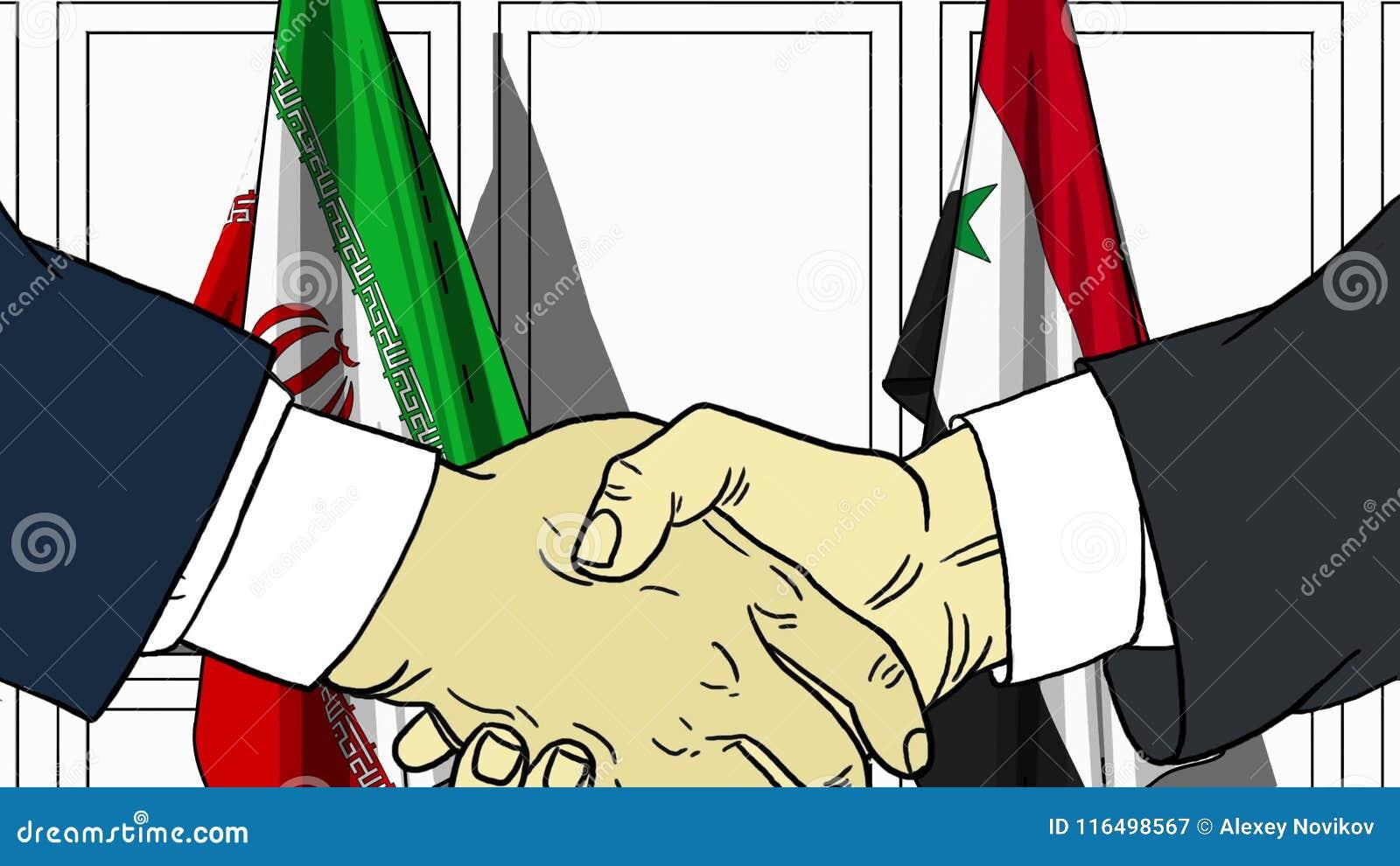 Zakenlieden of politicischokhanden tegen vlaggen van Iran en Syrië Officiële vergadering of samenwerking verwant beeldverhaal