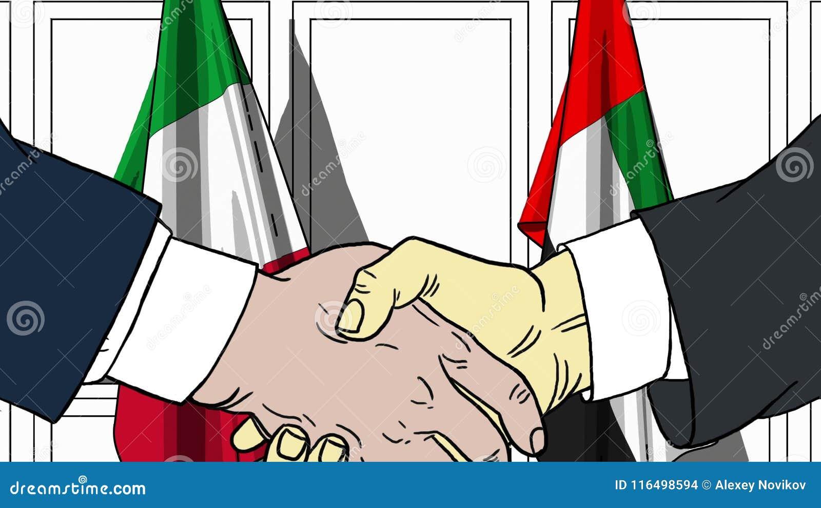 Zakenlieden of politicischokhanden tegen vlaggen van Italië en de V.A.E Officiële vergadering of samenwerking verwant beeldverhaa