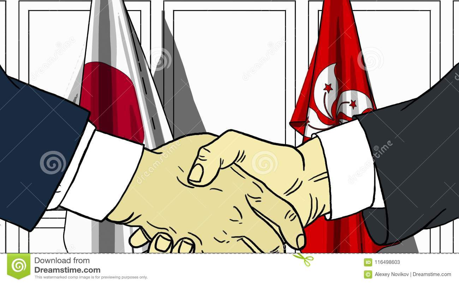 Zakenlieden of politicischokhanden tegen vlaggen van Japan en Hong Kong Officiële verwante vergadering of samenwerking