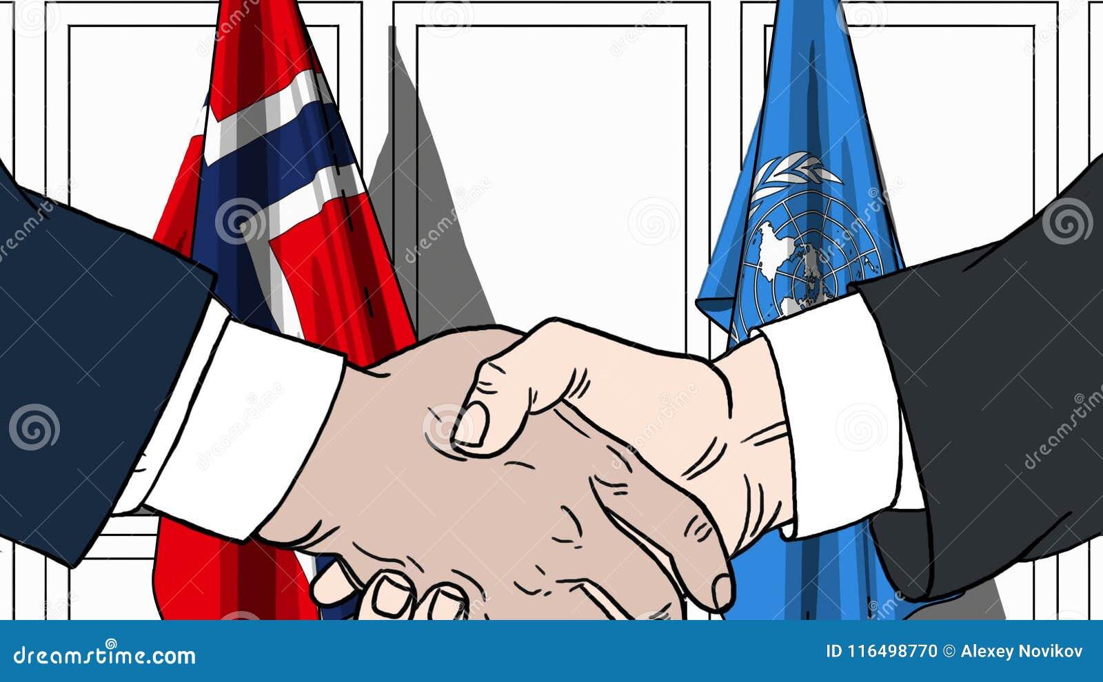 Zakenlieden of politicischokhanden tegen vlaggen van Noorwegen en de Verenigde Naties Officiële vergadering of samenwerking