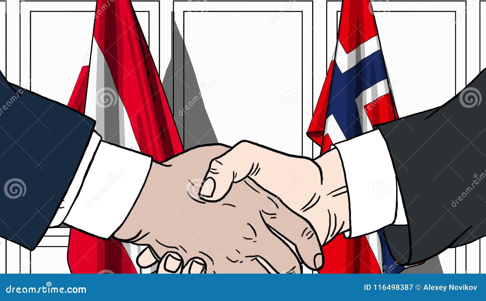 Zakenlieden of politicischokhanden tegen vlaggen van Oostenrijk en Noorwegen Officiële verwante vergadering of samenwerking