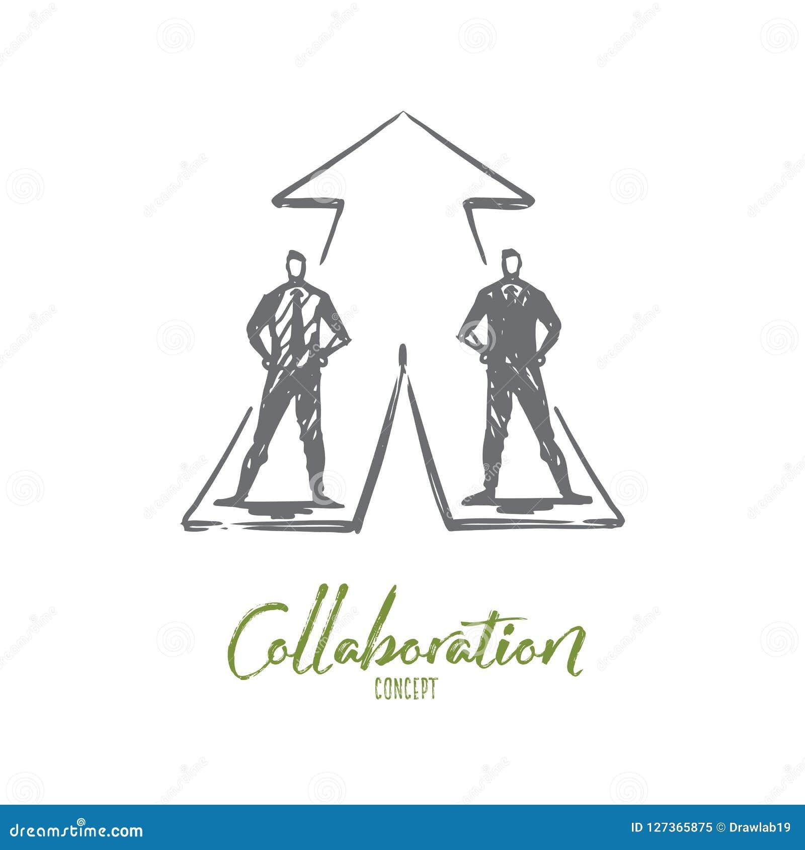 Zakenlieden, samenwerking, strategie, samenwerkingsconcept Hand getrokken geïsoleerde vector