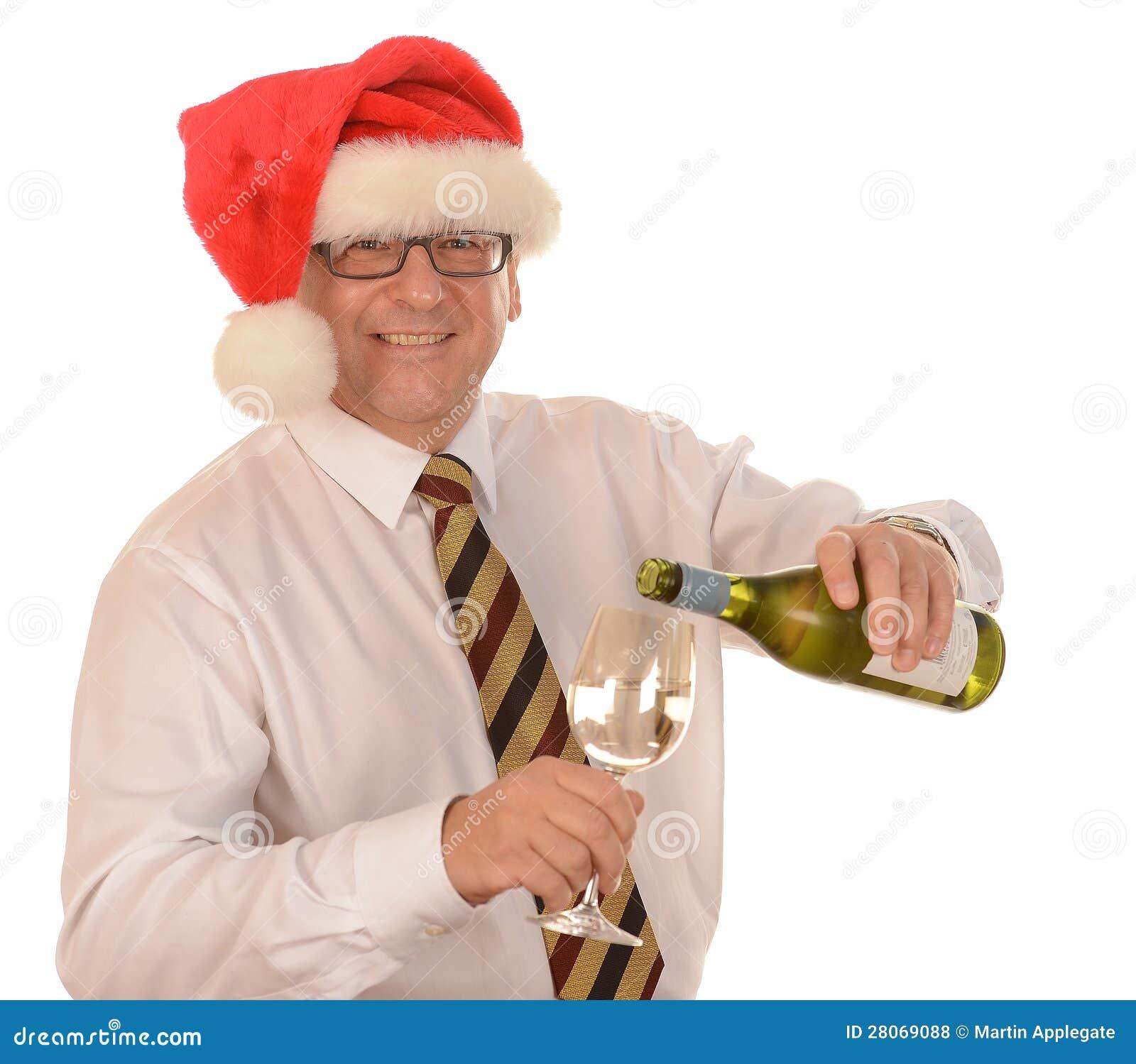 Zakenman in de Hoed van de Kerstman