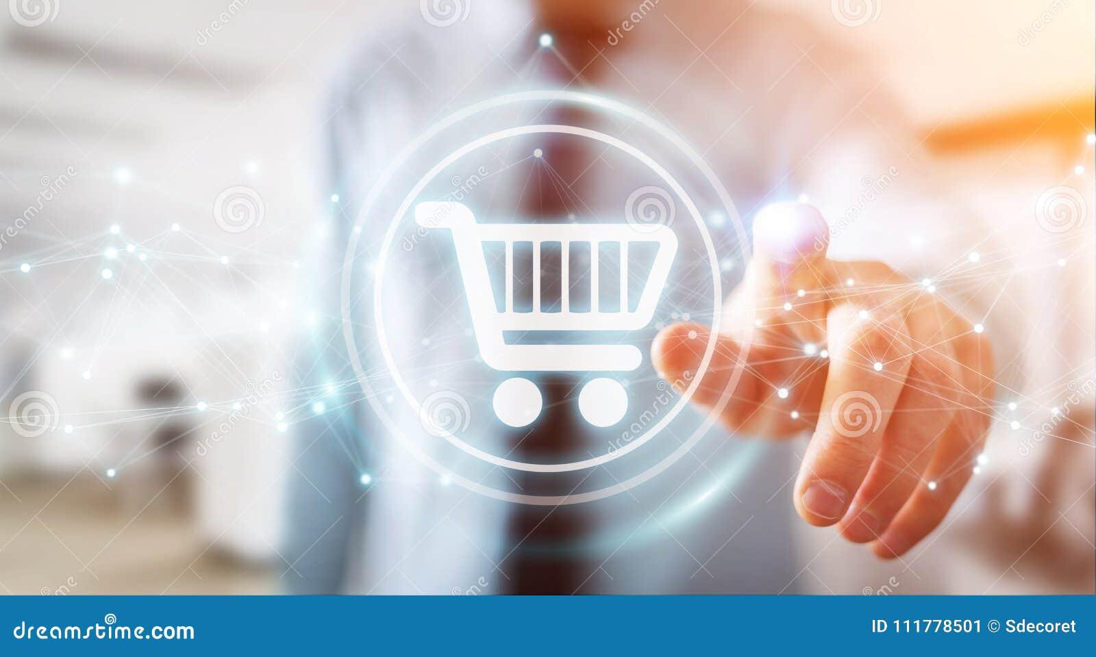 Zakenman die digitale het winkelen pictogrammen met verbindingen 3D ren gebruiken