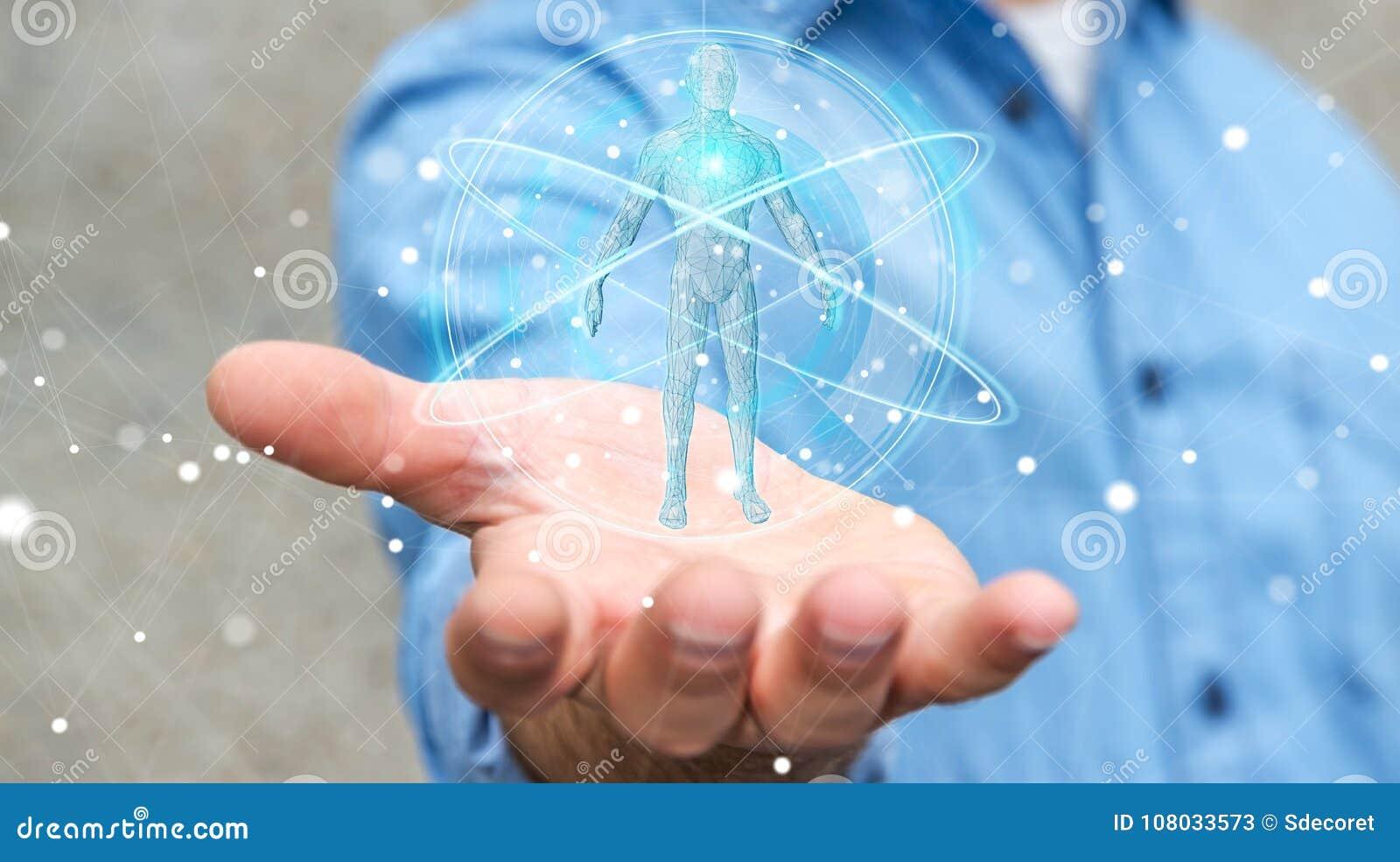 Zakenman die digitale x-ray de interface 3D ren gebruiken van het menselijk lichaamsaftasten