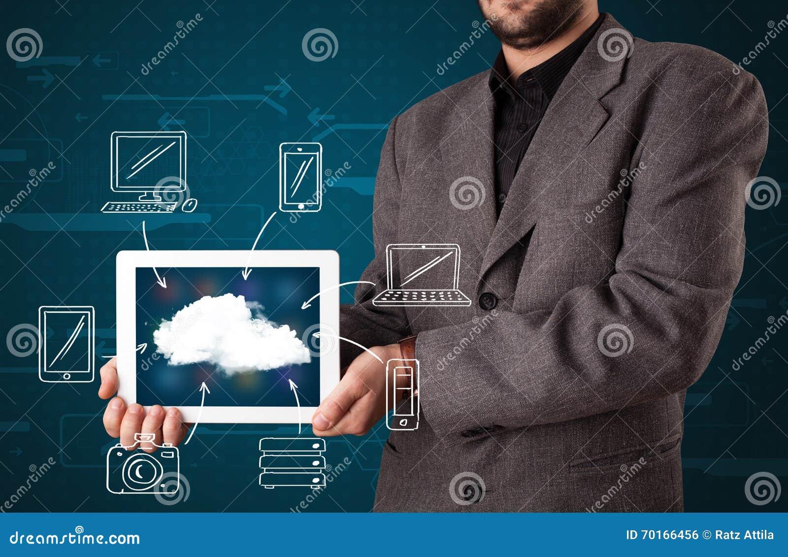 Zakenman die hand getrokken wolk gegevensverwerking tonen