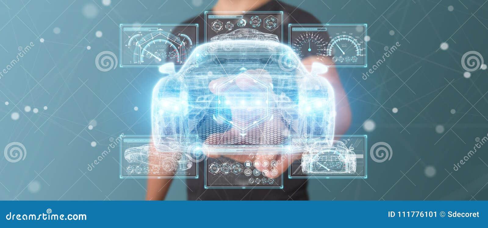 Zakenman die het moderne slimme autointerface 3D teruggeven gebruiken