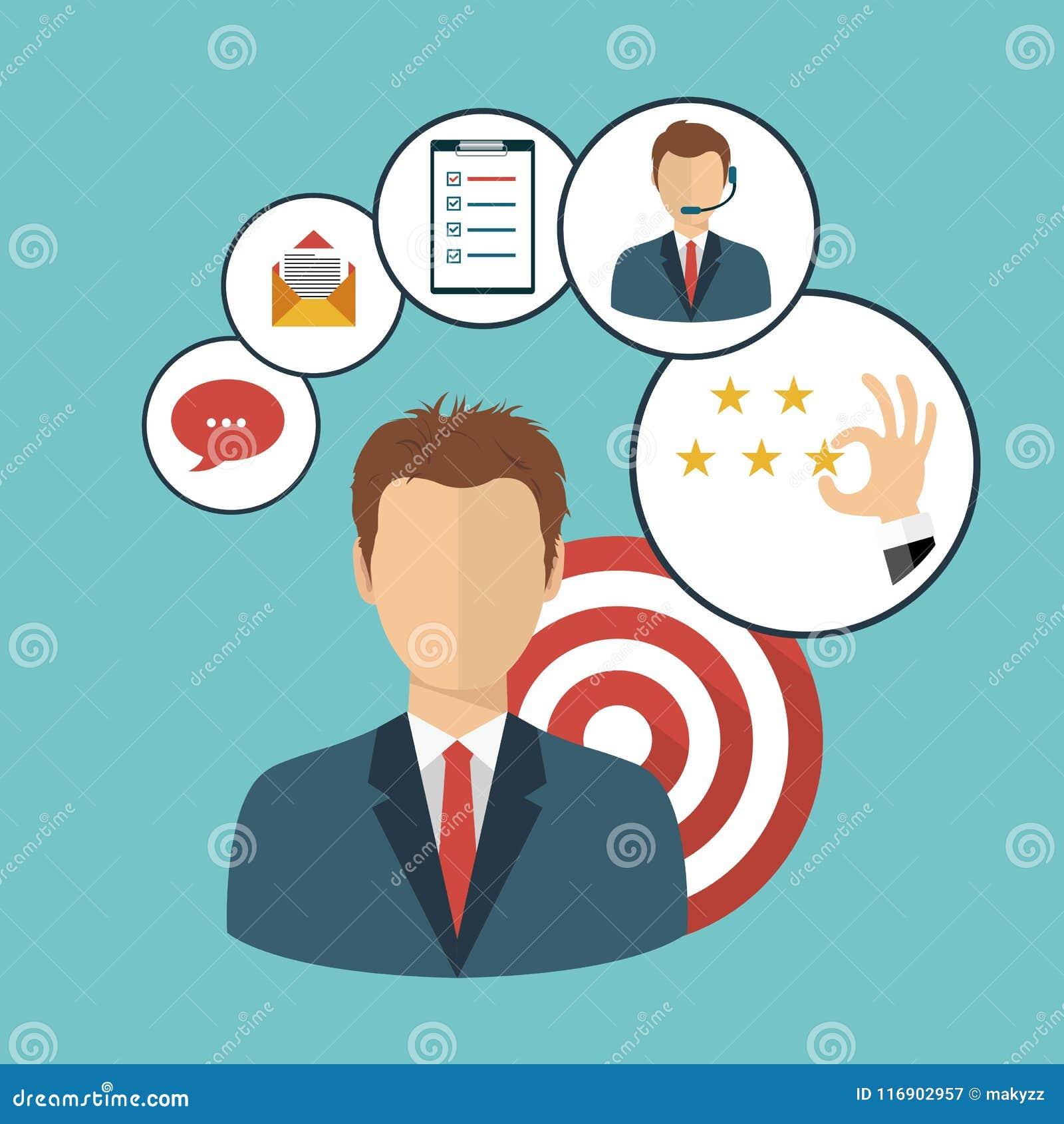 Zakenman die klantrelatiebeheer voorstellen Systeem om interactie met huidige en toekomstige klanten te beheren