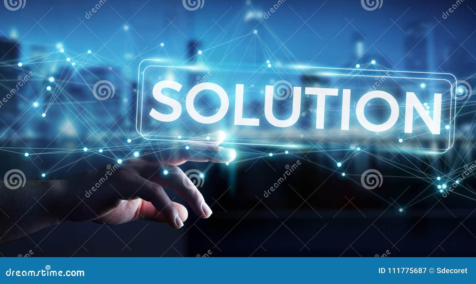 Zakenman die oplossings het digitale tekst 3D teruggeven gebruiken