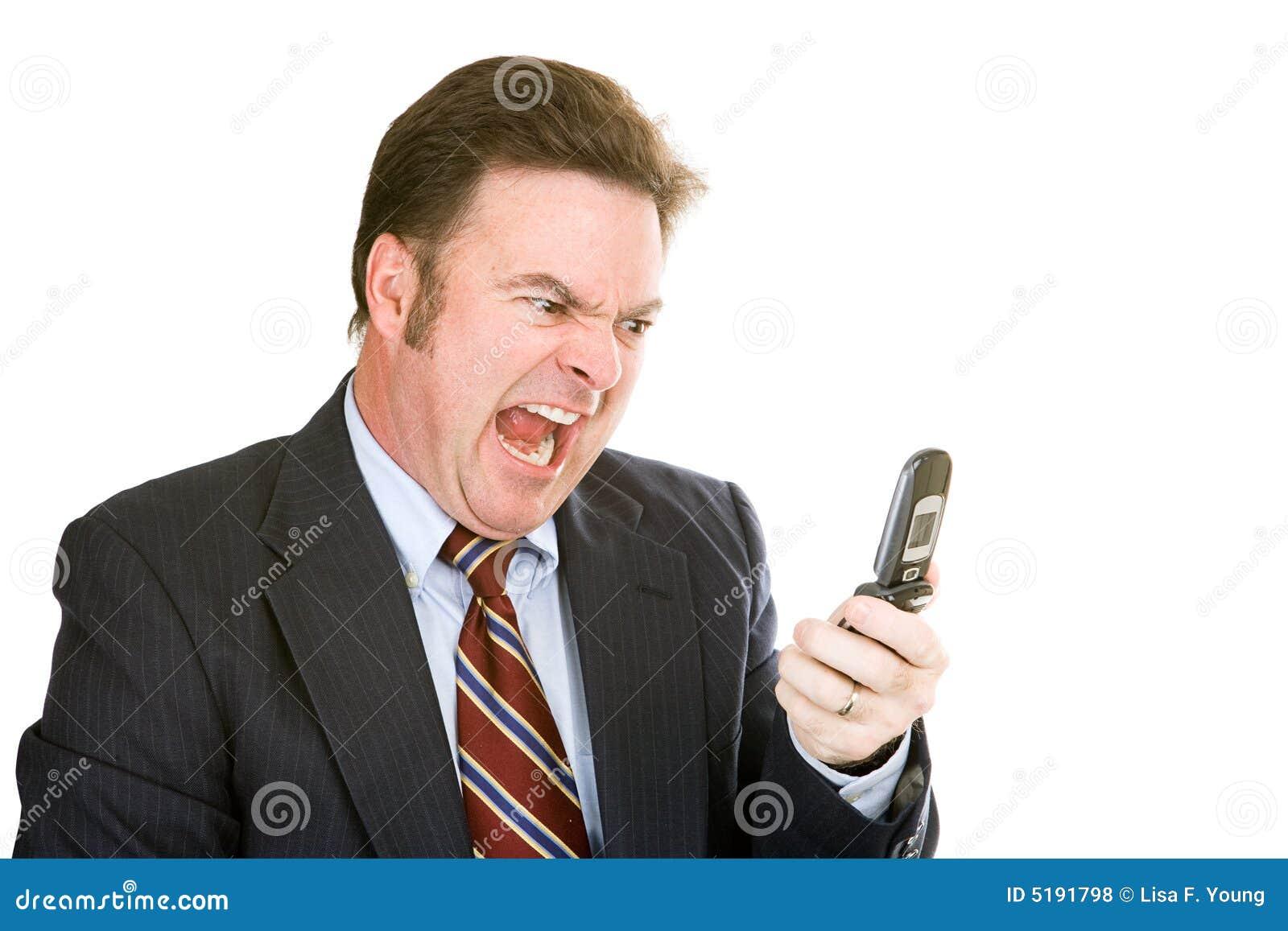 Zakenman die in Telefoon schreeuwt