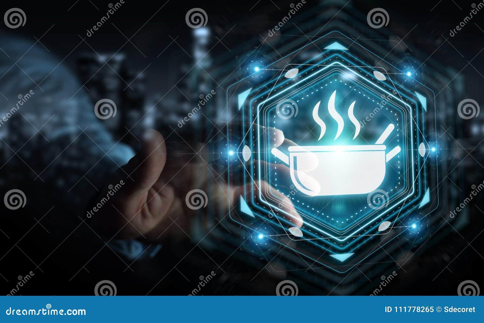 Zakenman die toepassing gebruiken om naar huis tot gemaakt voedsel opdracht te geven online 3D