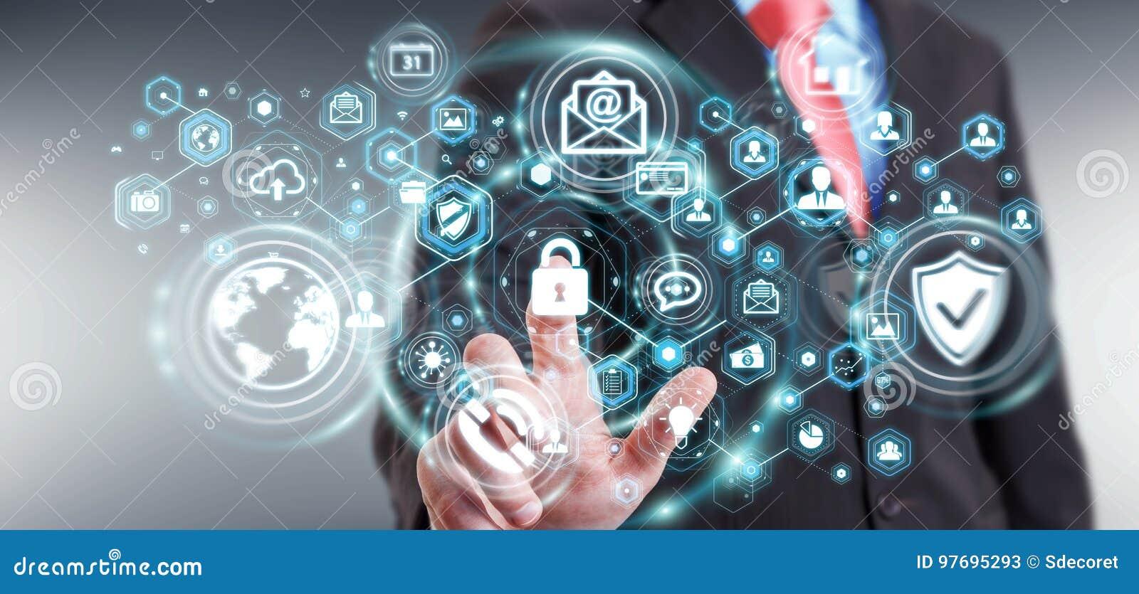 Zakenman die zijn 3D renderin van de gegevens persoonlijke informatie beschermen
