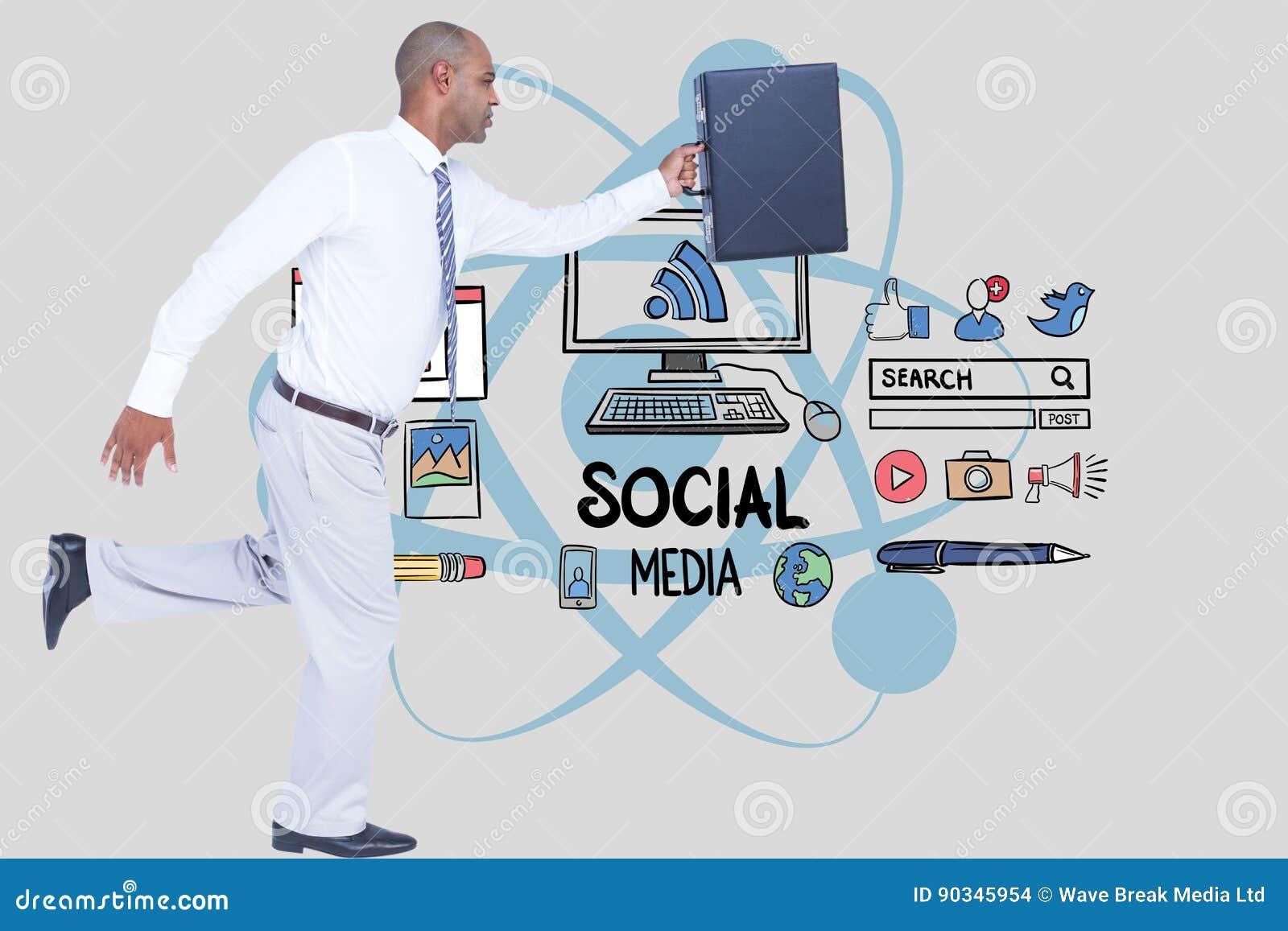 Zakenman dragende aktentas terwijl het lopen tegen sociale media pictogrammen