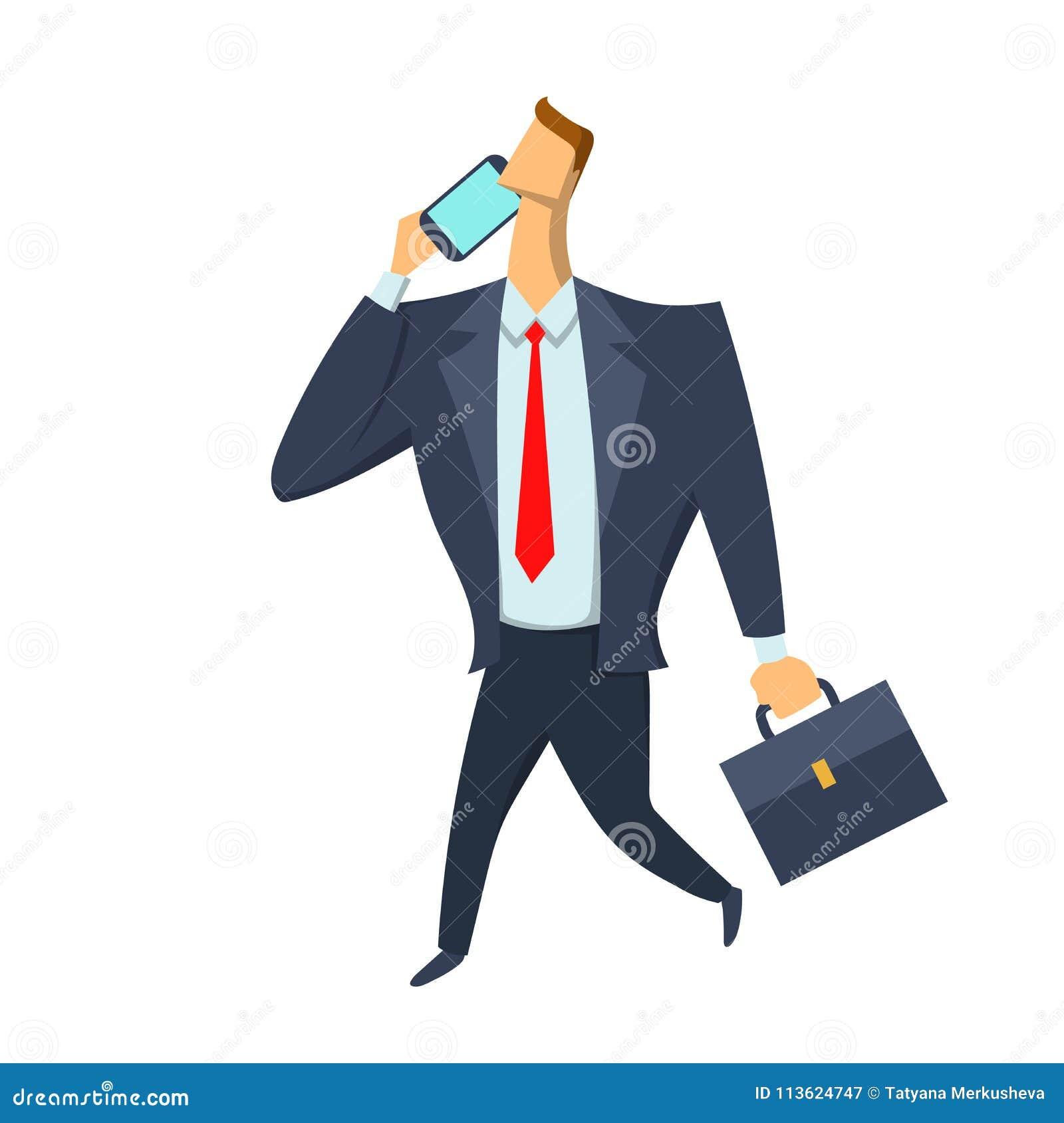 Zakenman, een mens in een pak met een aktentas die en op de telefoon lopen spreken Vector geïsoleerde illustratie