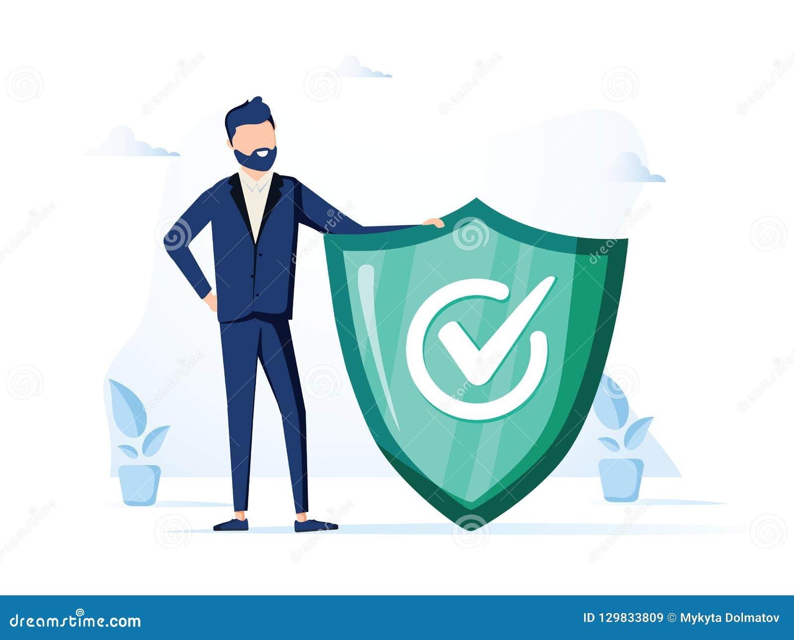Zakenman en informatieteken Informatie, FAQ, bericht en reclameconcept banner voor Web-pagina Moderne vector