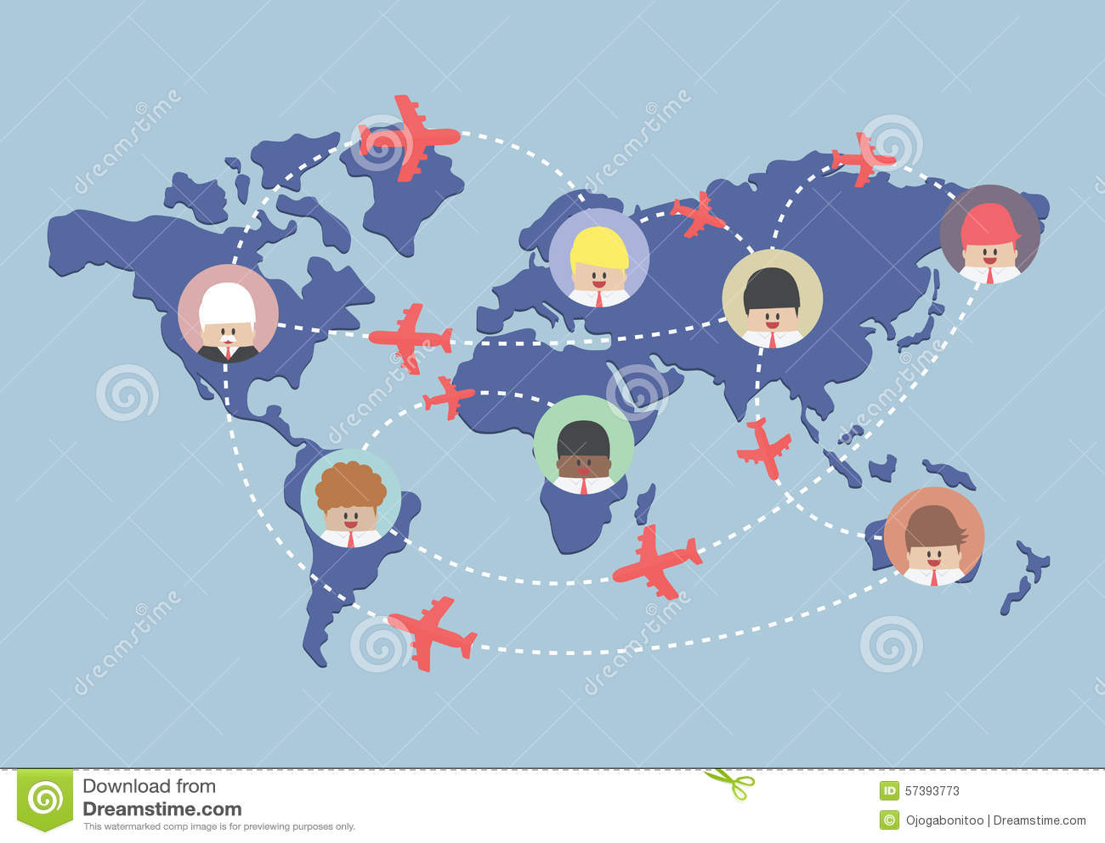 Zakenman en vliegtuigroutes op wereldkaart