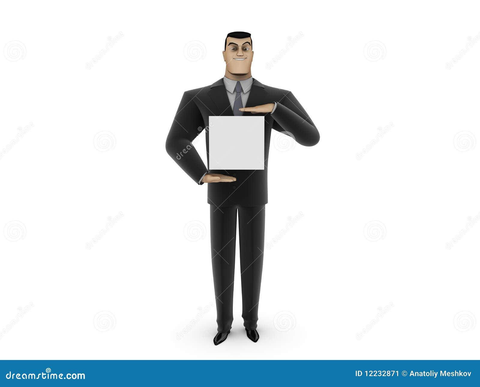 Zakenman en wit paneel