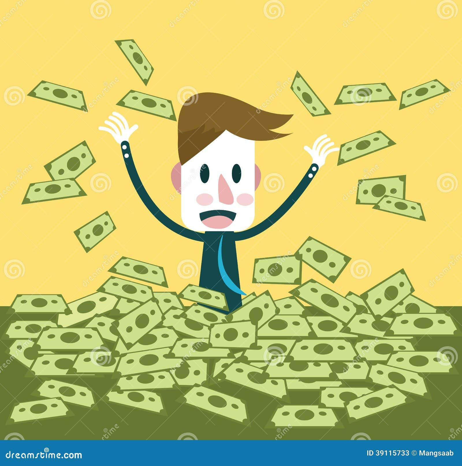 Zakenman gelukkig met heel wat dollarbankbiljet