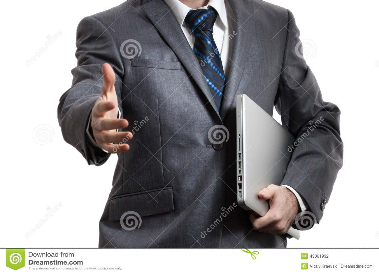 Zakenman in grijze laptop van de kostuumholding in één wapen