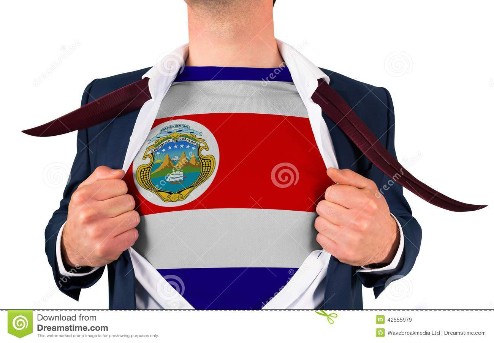 Zakenman het openen overhemd om de vlag van Costa Rica te openbaren