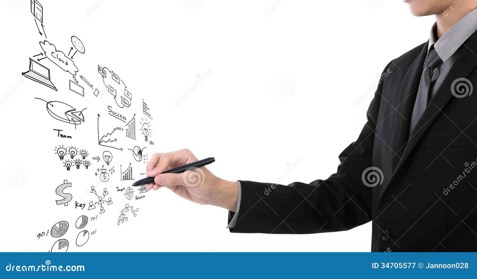 Zakenman het schrijven bedrijfsgrafiek
